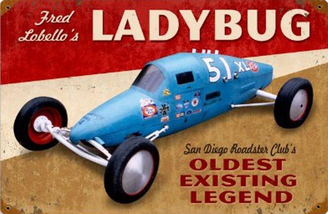 Ladybug Fred Lobello Automotive Hot Rod Vintage Metal Sign 18x12.jpg