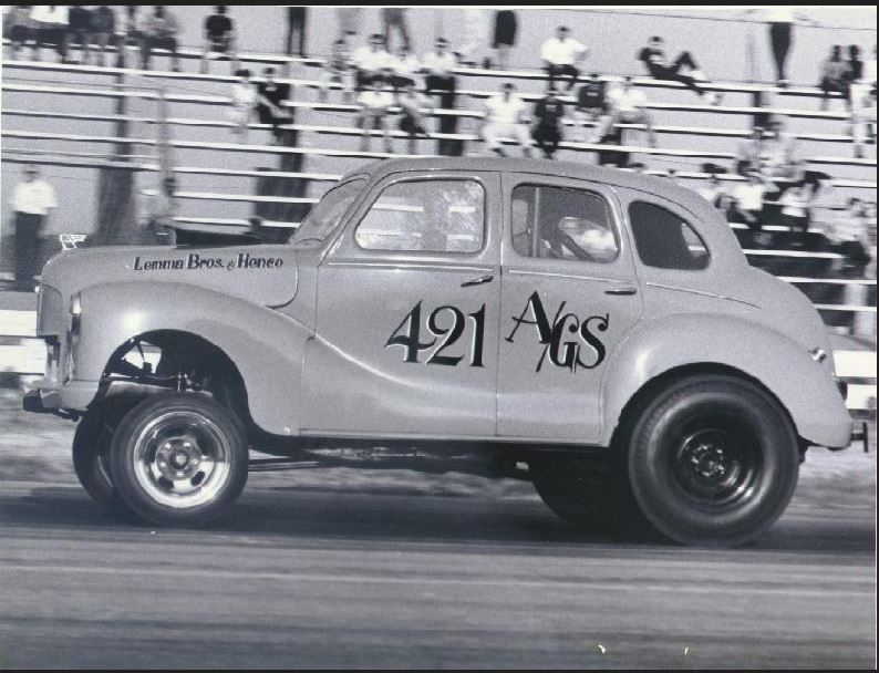 Lemma Brothers and Hence ran this four door Austin Devon with a 392 Chrysler and a Boss Hydro..JPG