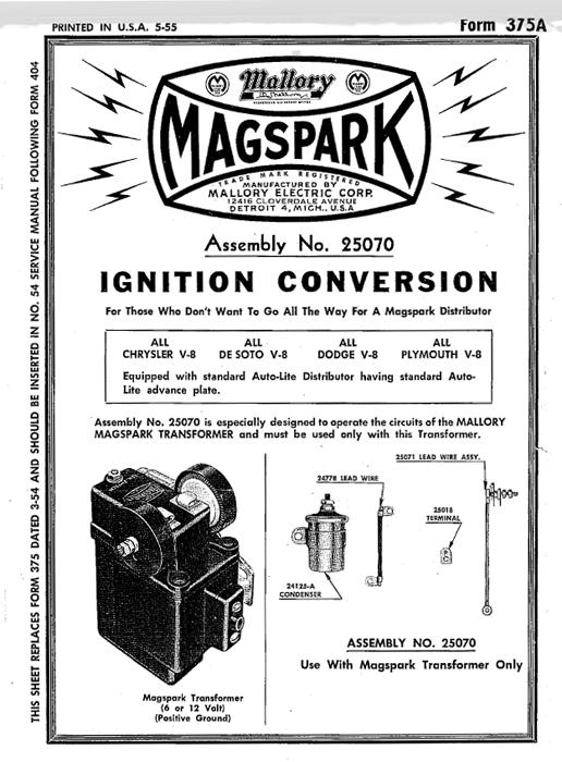 technical mallory magspark conversion dist kit flathead v8 the h a m b