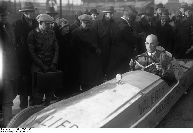Max Valier with his rocket car, 1929 .jpg
