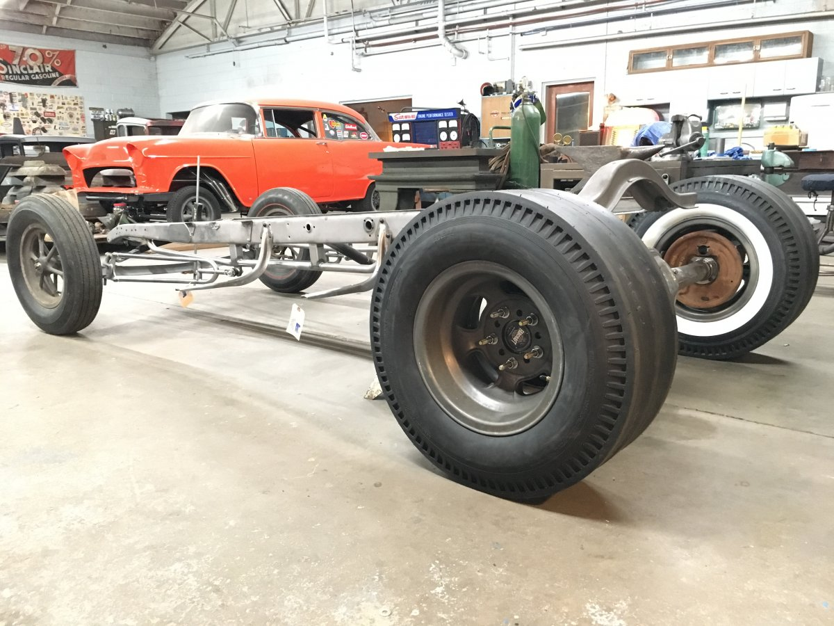 Model A Coupe Halibrands Slicks Hairpins Pontiac Olds Rear.JPG
