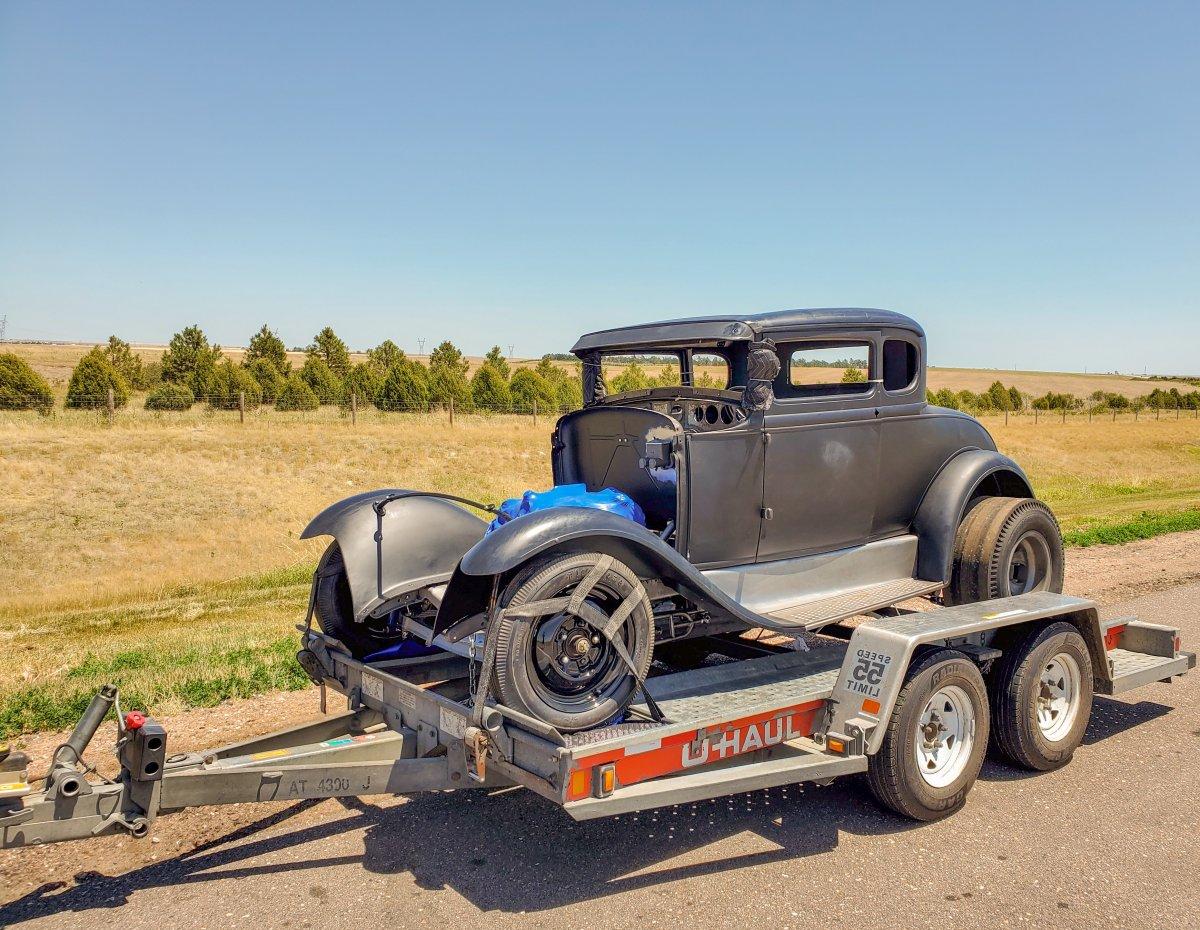 Model A Hot Rod Coupe  on Trailer Coming Back Home in Nebraska.jpg