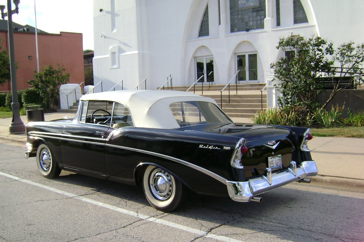 my `56 in front of Belvidere comunity center ( rear view).JPG