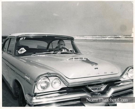 Norm Thatcher's '57 Dodge Coronet @ Daytona Beach in 1957 - pic 1.jpg