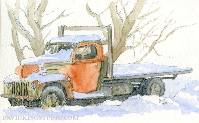 old ford truck in snow watercolor sketch.jpg