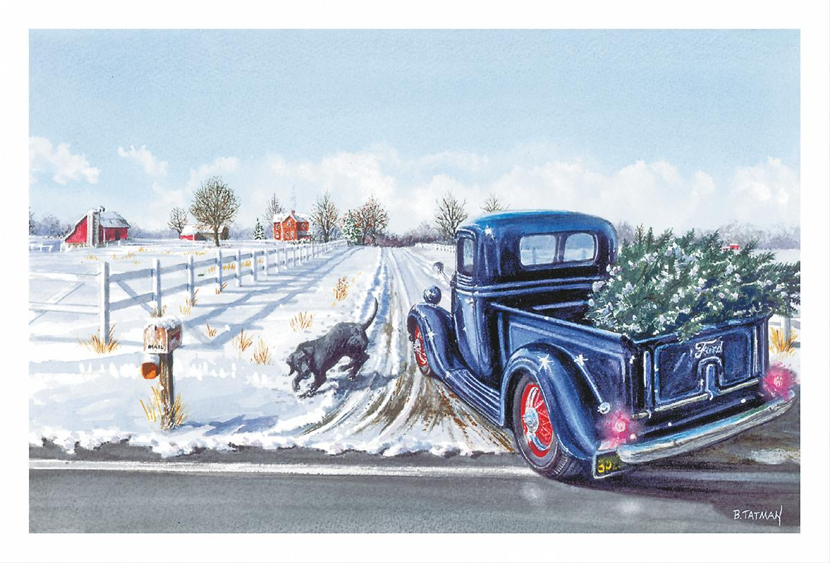 Country Christmas Cards With A Red Truck - Joyce\'s Christmas Card ...