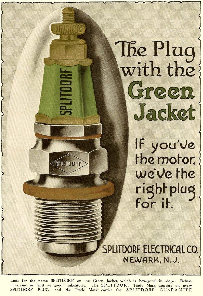 poster-ad car spark plug Splitdorf Green Jacket.jpg
