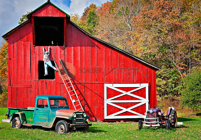 Red-Barn-in-West-Virginia-with-life-size-model-of-a-man-falling-off-ladder.jpg