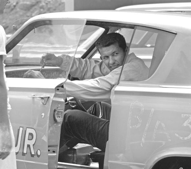 Richard Petty in the drag barracuda.JPG