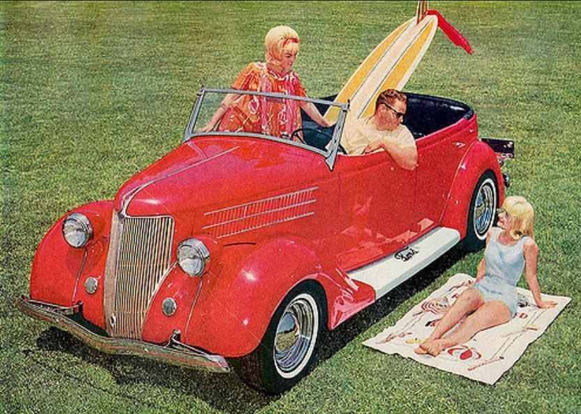 Ron Adley's '36 Ford with sisters Marsha & Diane Ambard, 1963.JPG