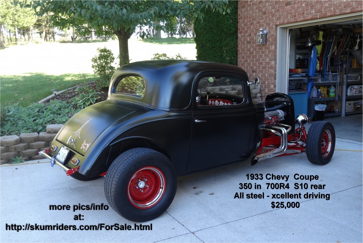 Hot rod 60 s style 1933 chevy cpe 3 window all steel except for fiberglass trunk lid custom 2 by 4 boxed frame 350 cu in chevy crate engine with
