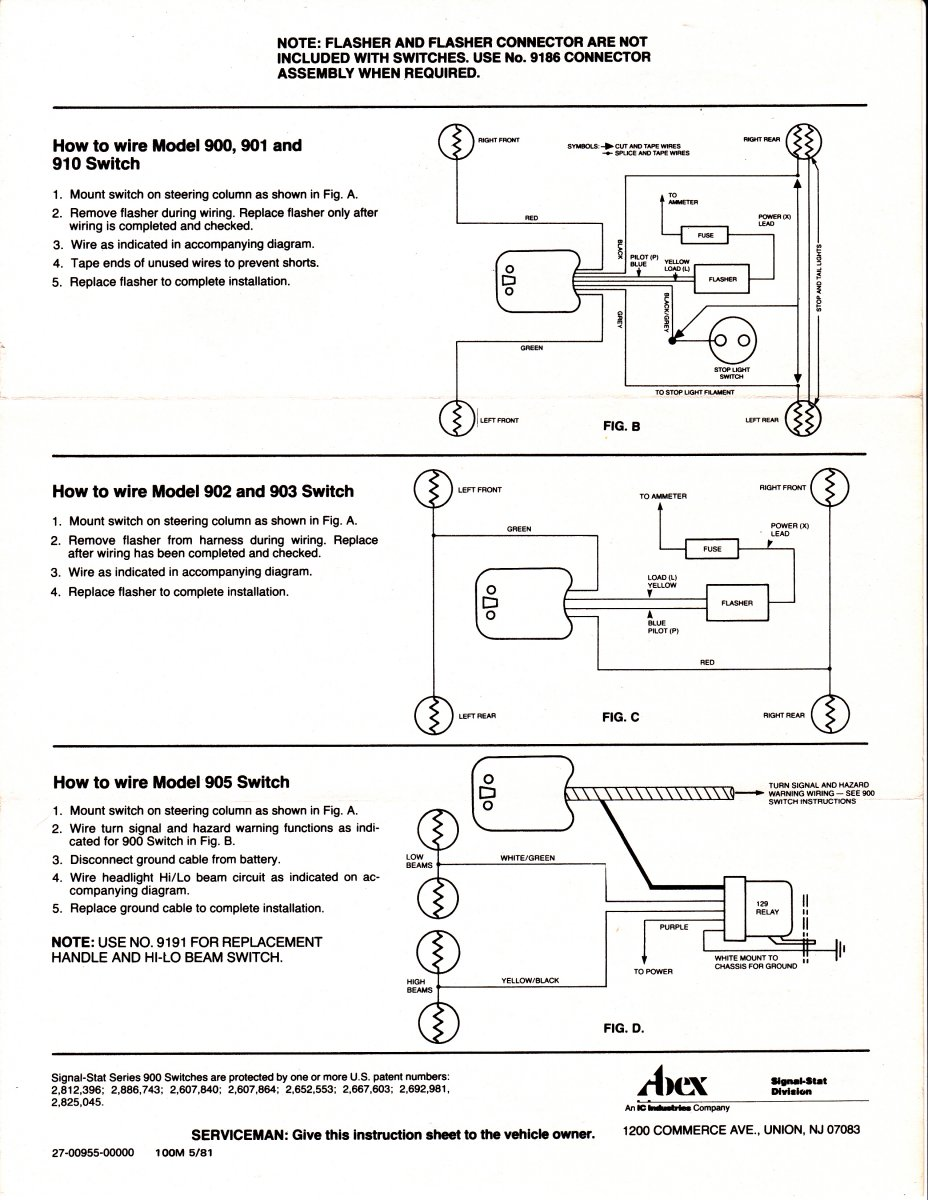 7 Wire Turn Signal Wiring Diagram For Schematics Gm Switch Hot Rods Question Yankee 734 737 Universal