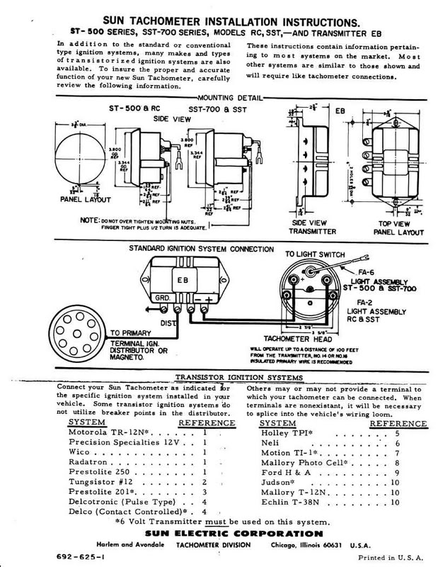 Technical using sun tach without transmitter page