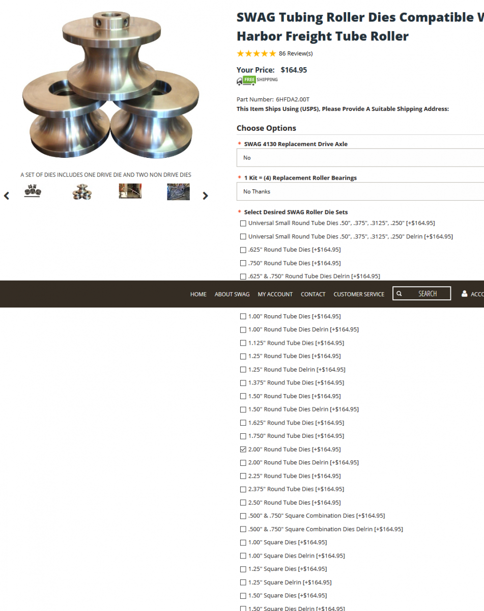 sold thank u Pittsburgh Tubing roller w swag dies plus stand