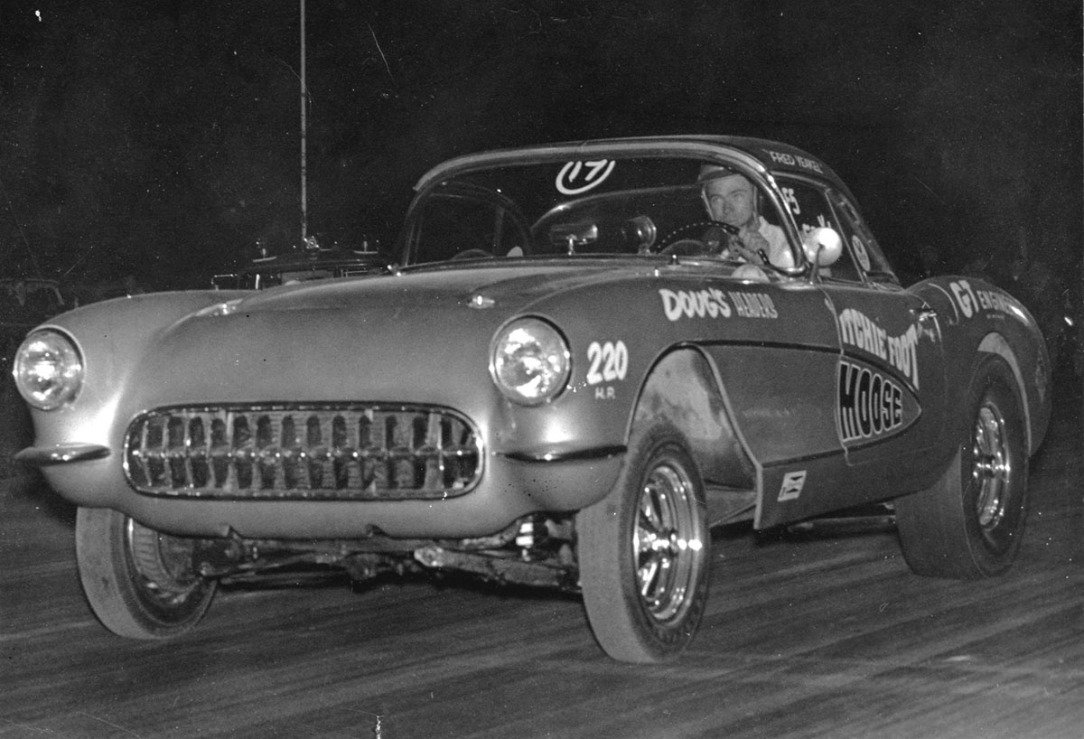 The 57 drag racing as The Itchy Foot Moose at Ramona Raceway San Diego CA 1967..jpg