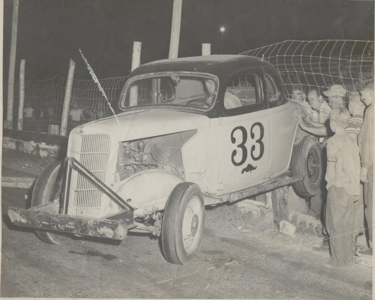 Up on the fence - Possibly Sunbrock Speedway in the mid _50s Joslin Collection.jpg