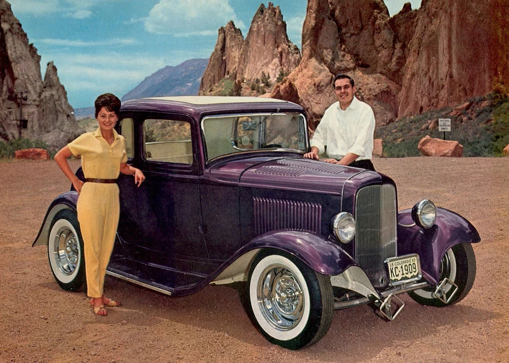 Verlin Lawson with Denise Williams & his '32 Ford coupe at Garden of the Gods - 1964.jpg