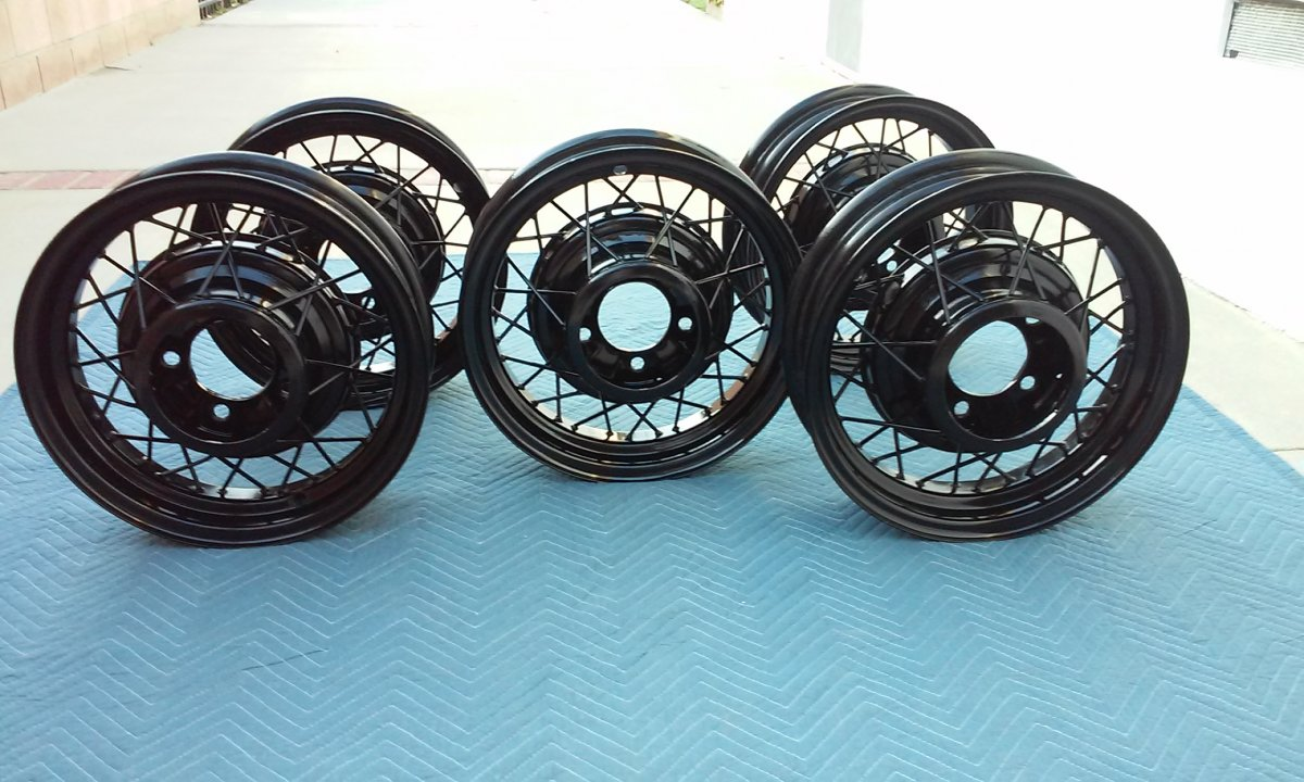 5 Black powder coated 1935 Ford Wire wheels/ Rims | The H.A.M.B.