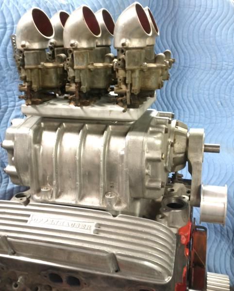4 71 GMC Blower On SBC With Original 6x2 WEIAND Carb Top And Matching