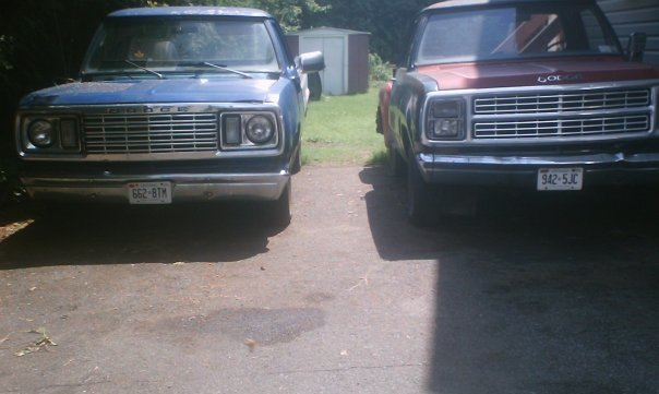 our trucks a 1977 dodge sweptline, 360 engine with a edelbrock carb