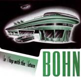 This is one of the Bohn ads known to be illustrated by George W. Walker. Note the slab sides on the futuristic sedan.