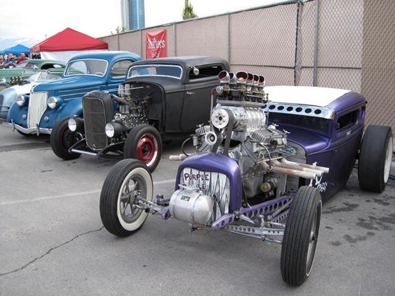 The Purple People Eater flanked by Shifter coupes.