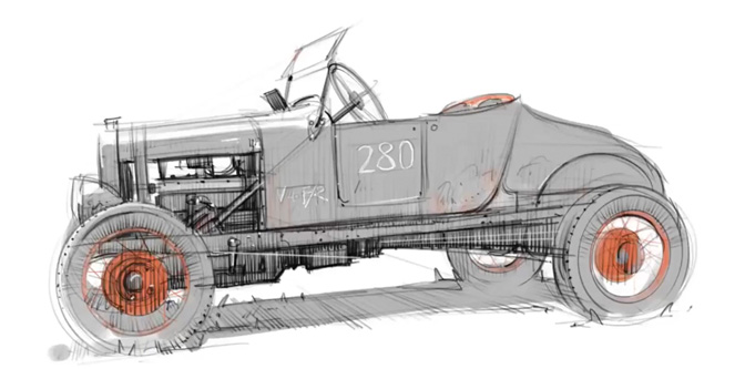 Hot Rod Sketches on an iPad…